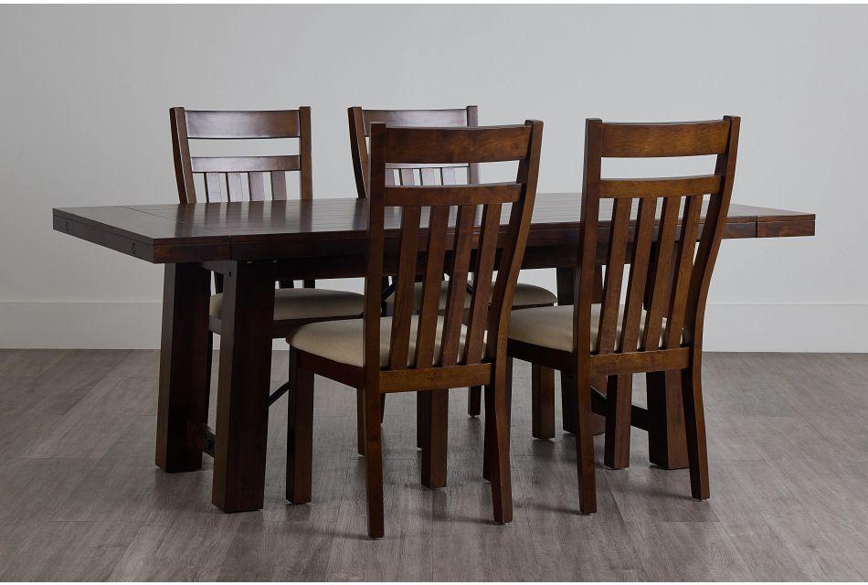 Napa Dark Tone Table & 4 Wood Chairs,  (0)