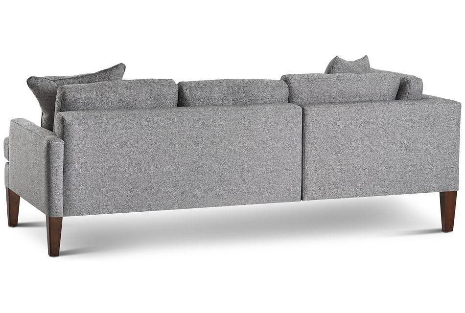 Morgan Dark Gray Fabric Small Left Bumper Sectional W/ Wood Legs