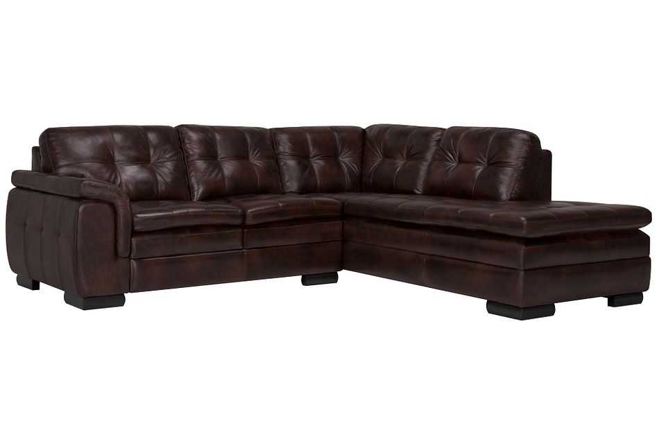 Trevor Dark Brown  LEATHER Small Right Bumper Sectional