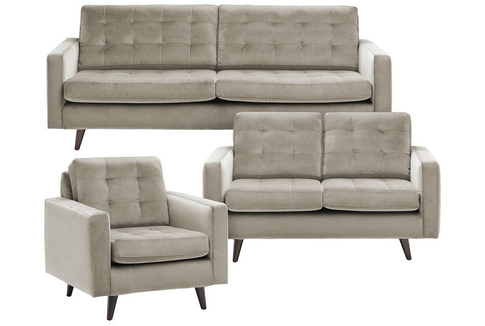 Mila Beige Velvet Living Room