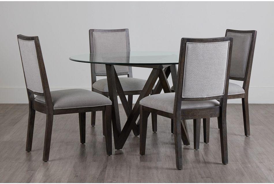 Tribeca Dark Tone Glass Table & 4 Wood Chairs,  (0)