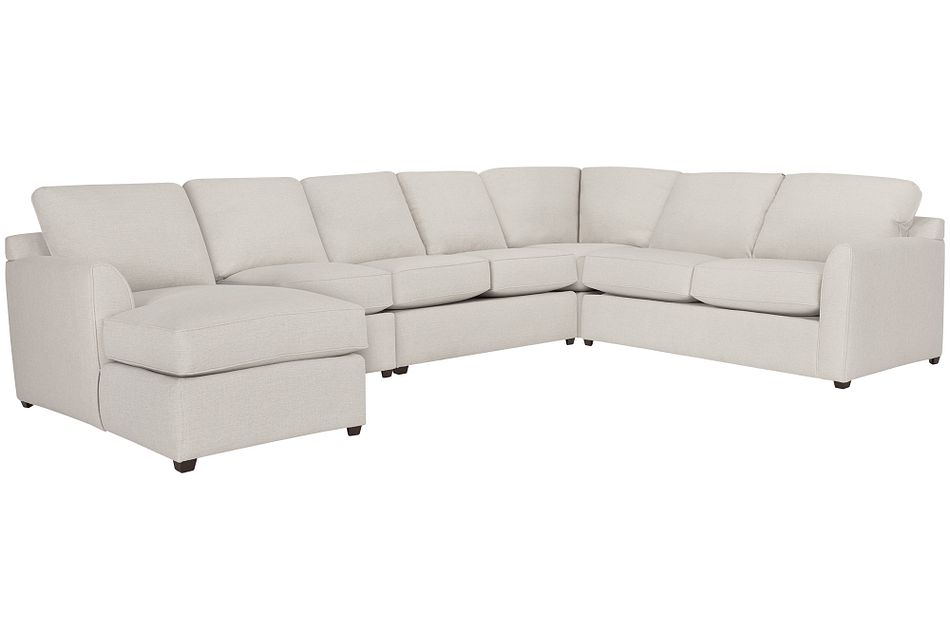 Asheville Light Taupe Fabric Large Left Chaise Sectional