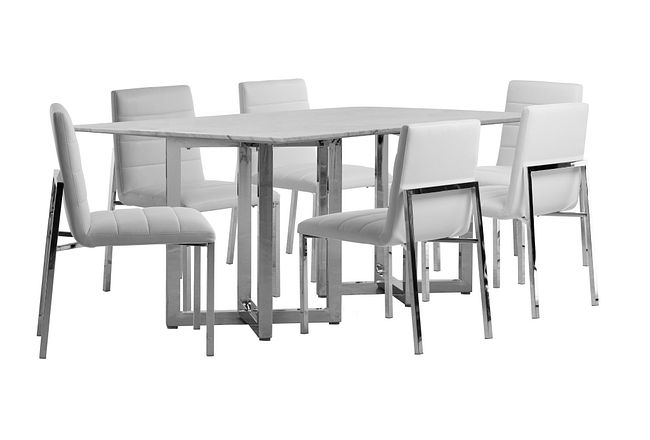 Amalfi White Marble Rectangular Table & 4 Upholstered Chairs