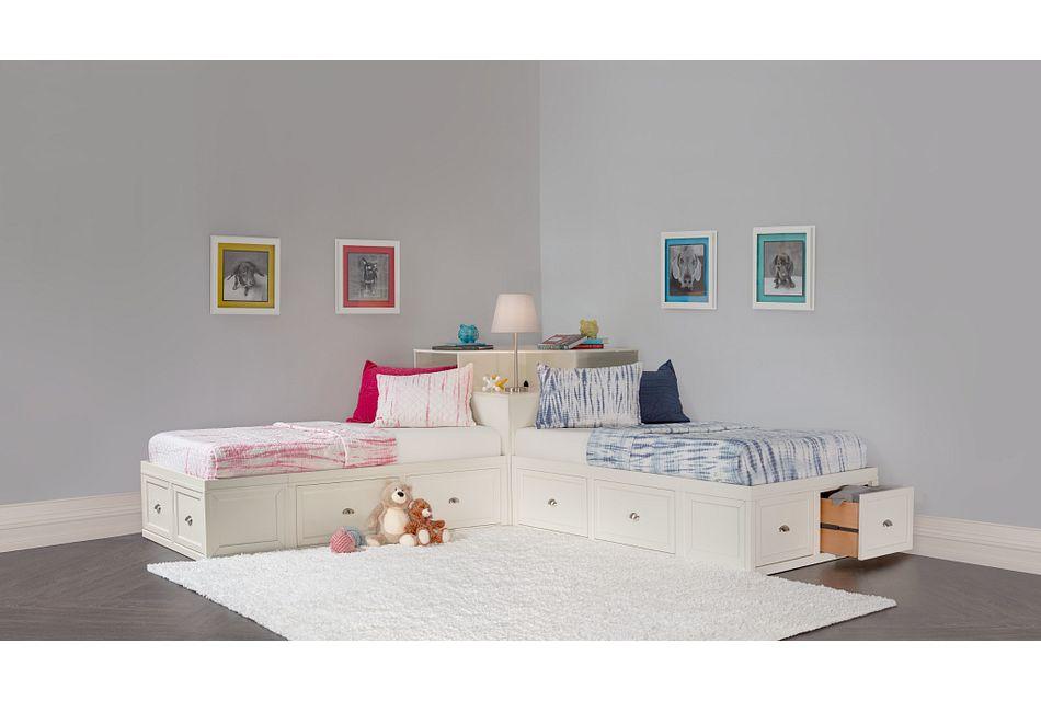 Spencer WHITE STORAGE Corner Platform Storage Beds, Twin (3)