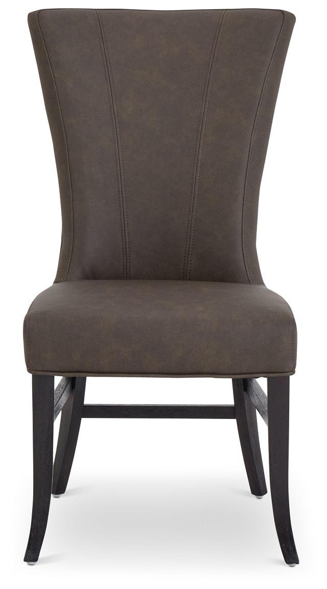 Lori Dark Brown Micro Side Chair (3)
