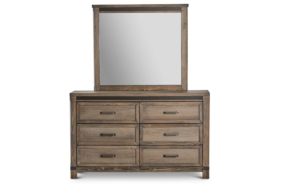 Lancaster Mid Tone Wood Dresser & Mirror