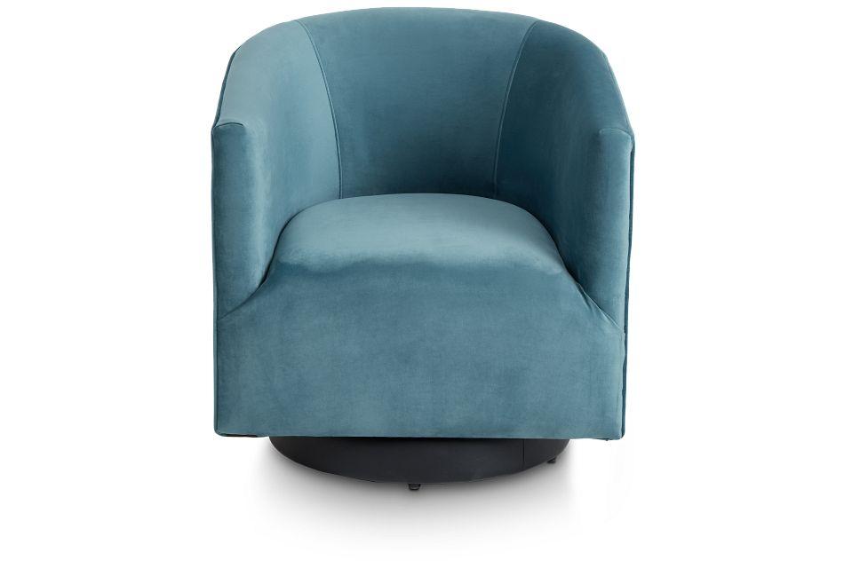 Charlotte Light Blue Velvet Swivel Accent Chair,  (3)