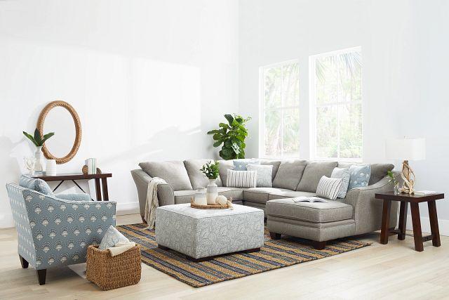 Avery Dark Gray Fabric Medium Right Chaise Sectional (2)