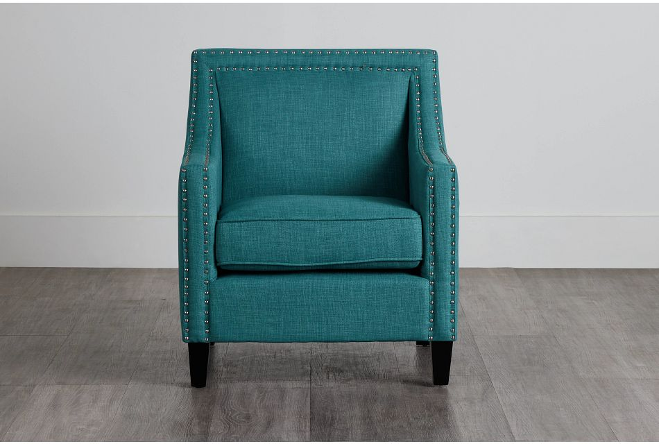 Erica Teal Fabric Accent Chair,  (0)