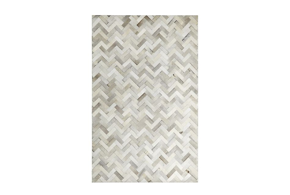 Chevy Light Gray Leather 8x10 Area Rug