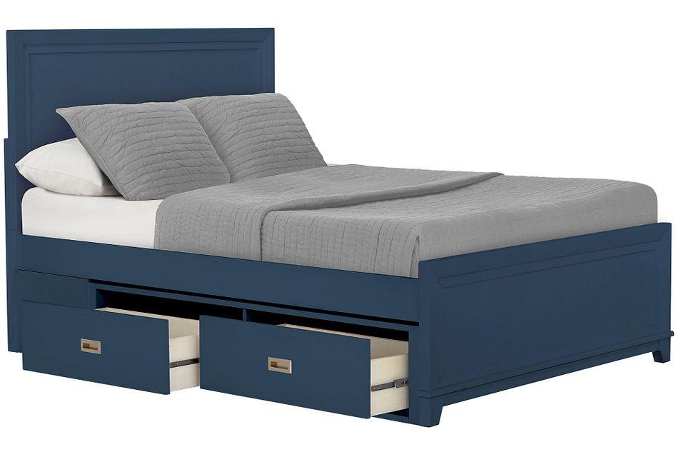 Ryder Dark Blue Panel Storage Bed