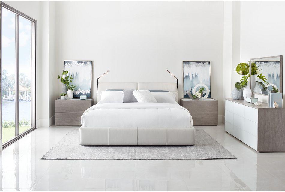 Montez White Leather Power Adjustable Headrest Platform Bed
