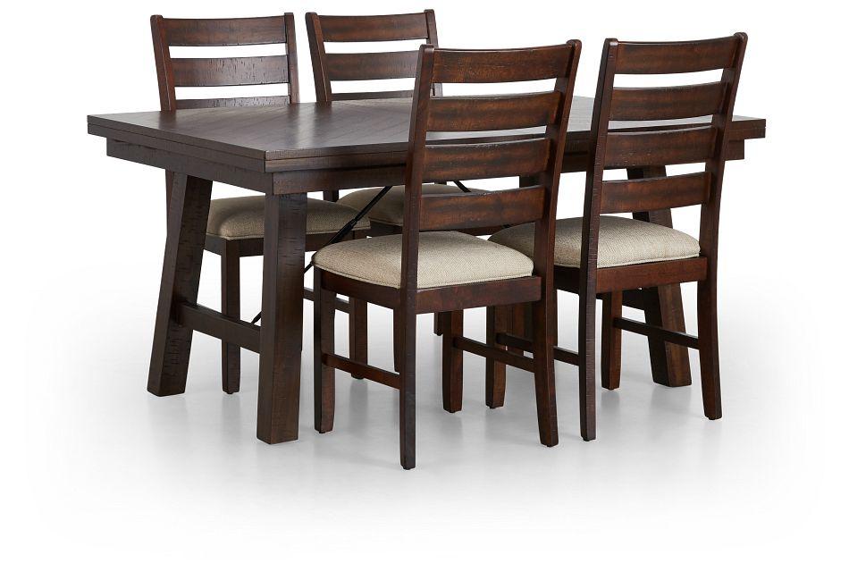 Jax Dark Tone Rect Table & 4 Wood Chairs,  (3)