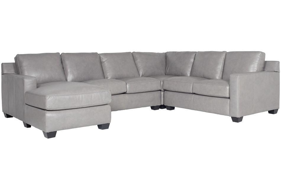 Carson Gray Leather Medium Left Chaise Sectional