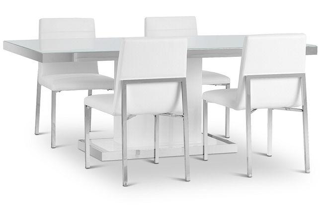 """Miami White 78"""" Table & 4 Chairs"""
