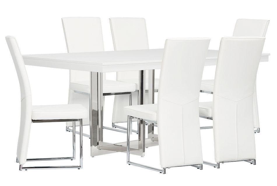 Cortina White Table & 4 Chairs,  (2)
