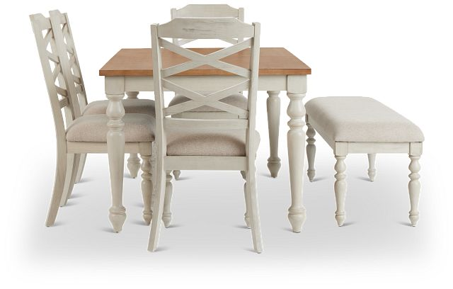 Lexington Two-tone Rect Table, 4 Chairs & Bench (3)