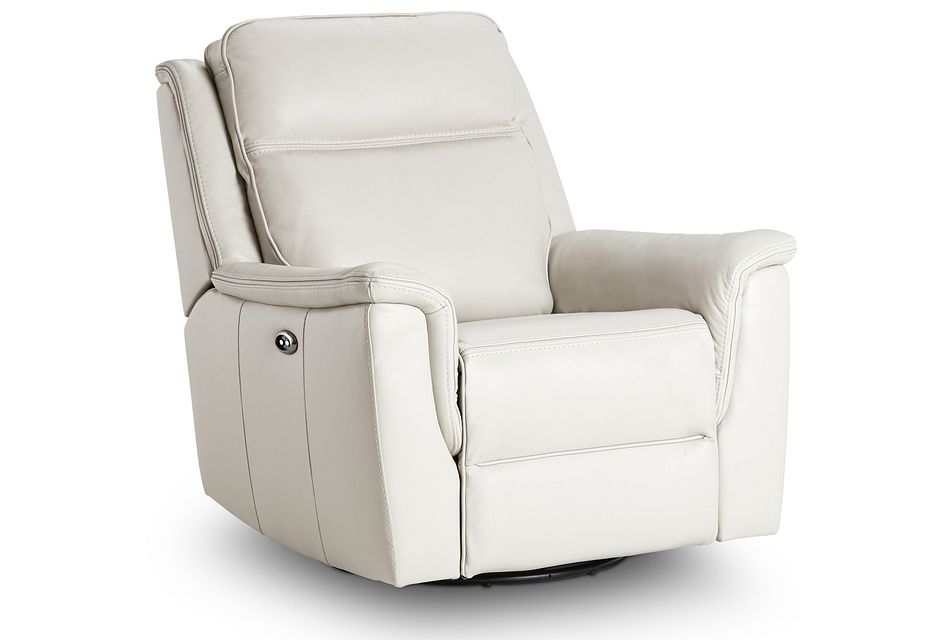 Aiden Light Gray Leather Power Swivel Glider Recliner