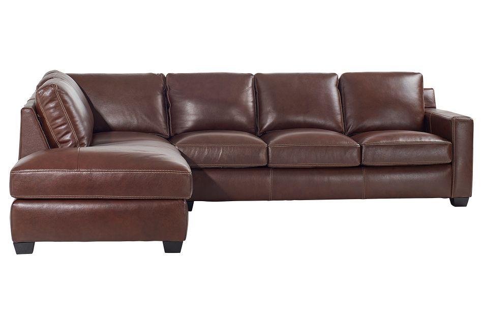Carson Medium Brown Leather Left Bumper Memory Foam Sleeper Sectional