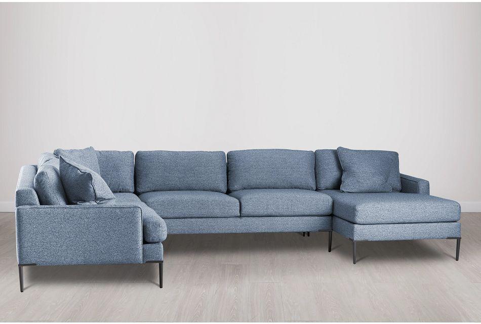 Morgan Blue Fabric Medium Right Chaise Sectional W/ Metal Legs