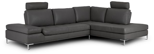 Camden Dark Gray Micro Right Chaise Sectional With Removable Headrest (1)