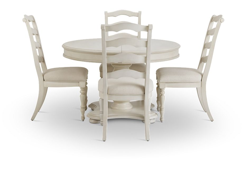 Savannah Ivory Round Table & 4 Chairs,  (2)