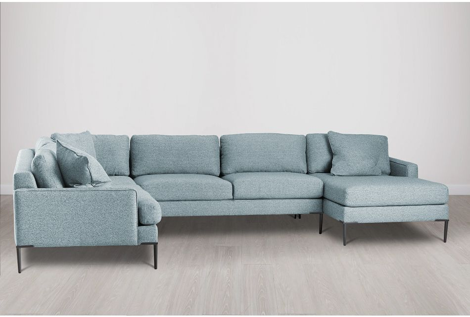 Morgan Teal Fabric Medium Right Chaise Sectional W/ Metal Legs