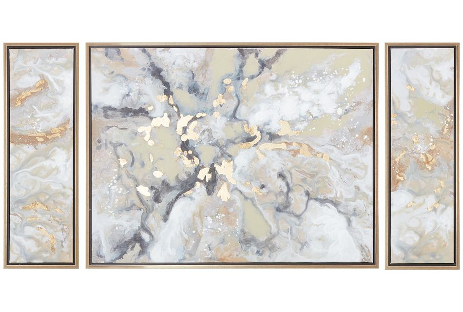Marble Gold Set Of 3 Framed Canvas Wall Art Home Accents Decor City Furniture