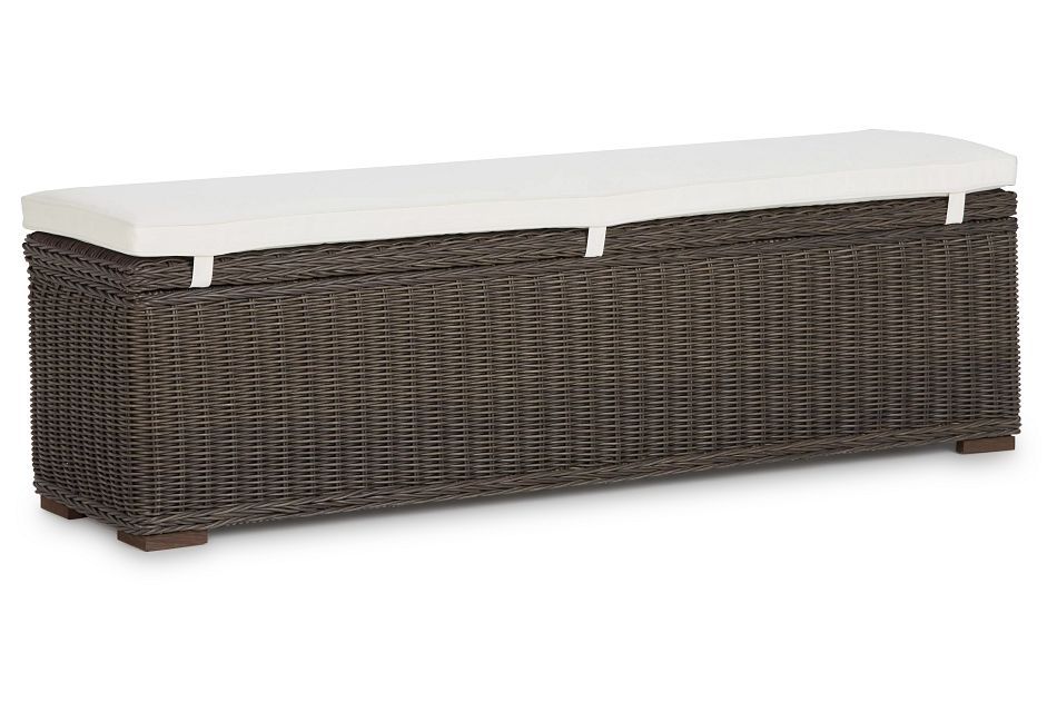 Canyon Gray White Woven Dining Bench