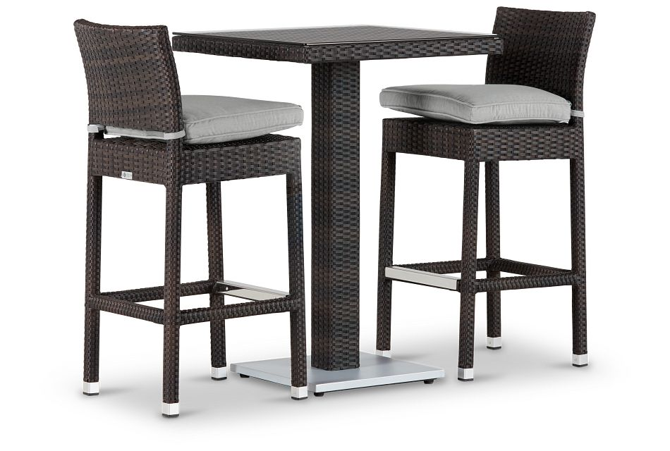 "Zen Gray 27"" Pub Table & 2 Barstools"