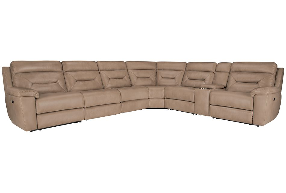 Phoenix Dark Beige  MICRO Large Two-Arm Power Reclining Sectional