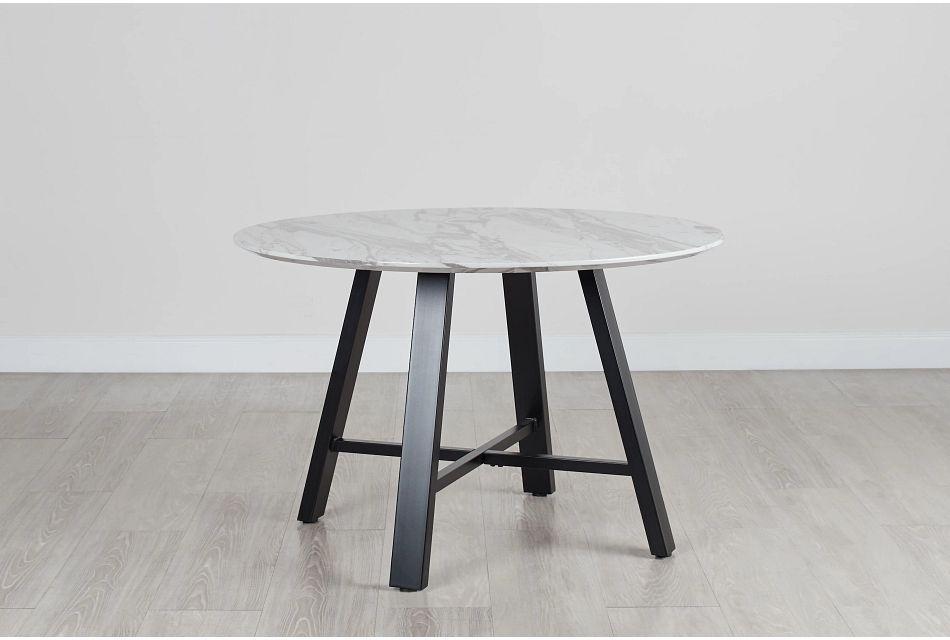 """Capri White 48"""" Round Table W/black Legs"""