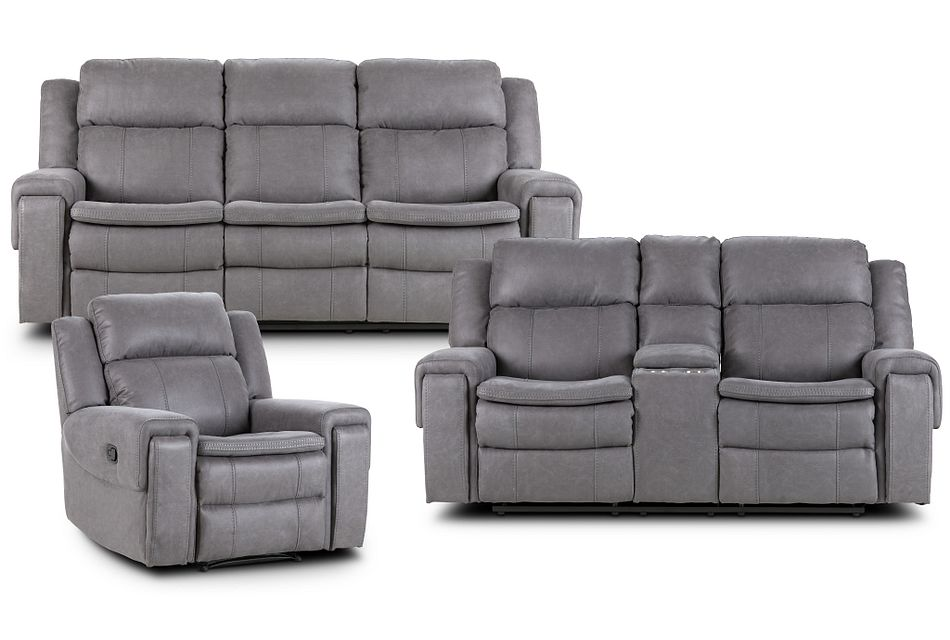 Scout Gray Micro Manually Reclining Living Room