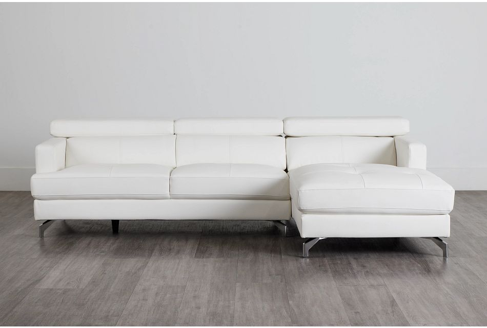 Marquez White Micro Right Chaise Sectional,  (0)