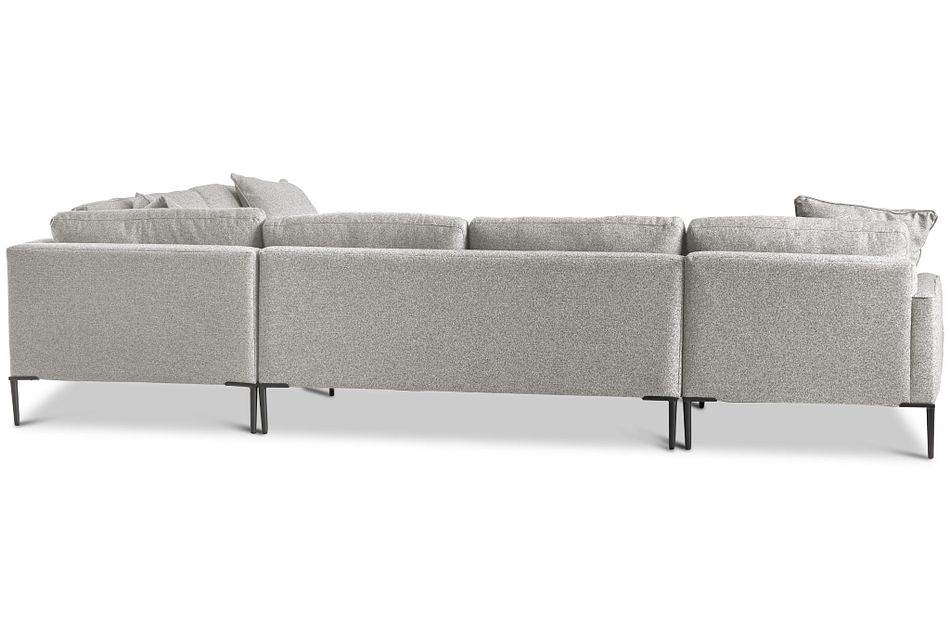 Morgan Light Gray Fabric Medium Left Chaise Sectional W/ Metal Legs