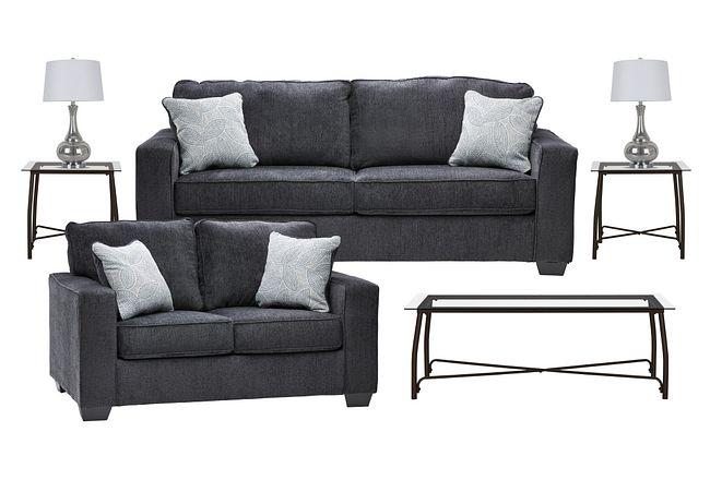 Altari Dark Gray Micro 7-piece Living Room Package