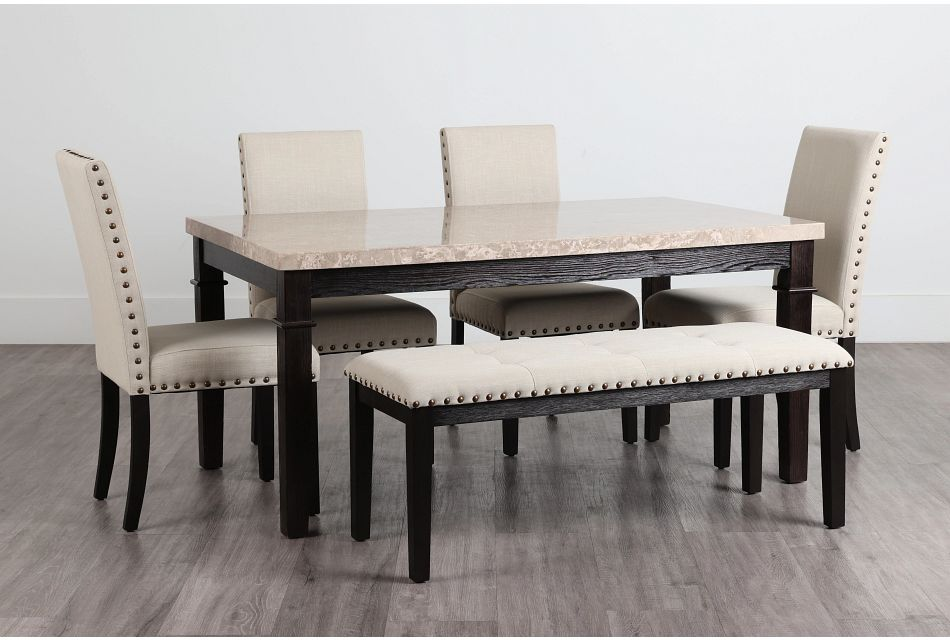 Portia Dark Tone Marble Table, 4 Chairs & Bench,  (0)