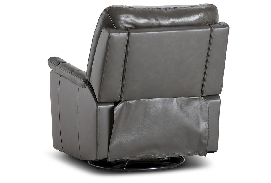Owen Dark Gray Leather Swivel Glider Recliner