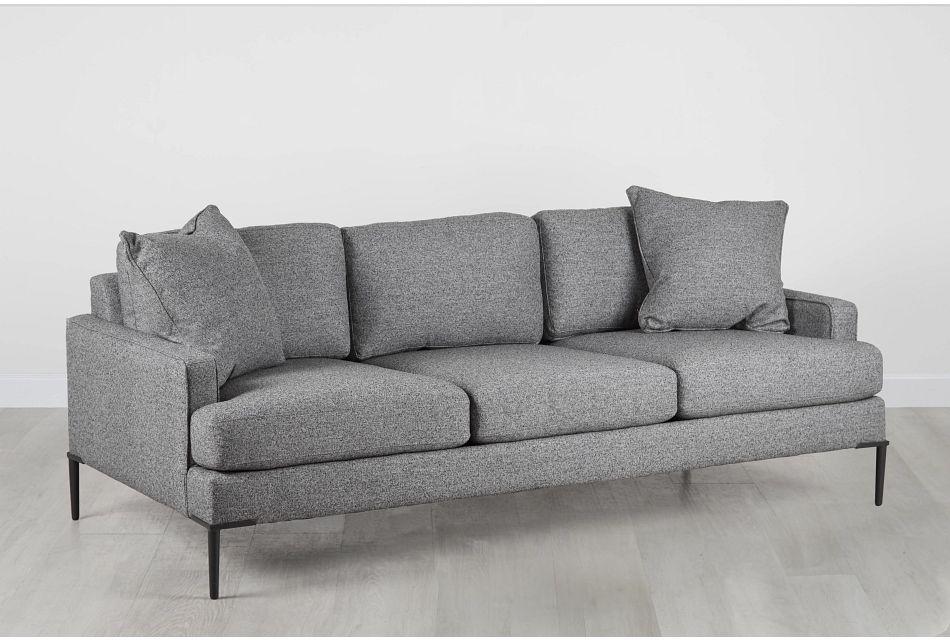 Morgan Dark Gray Fabric Sofa With Metal Legs