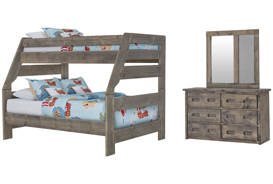 Cinnamon Gray Bunk Bed Bedroom