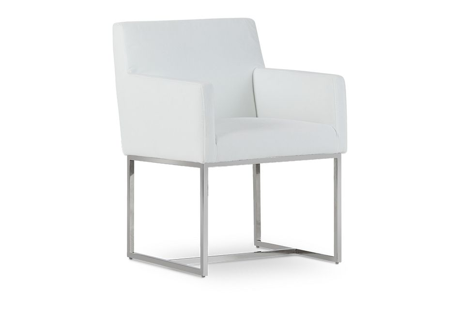 Miami White Fabric Upholstered Arm Chair