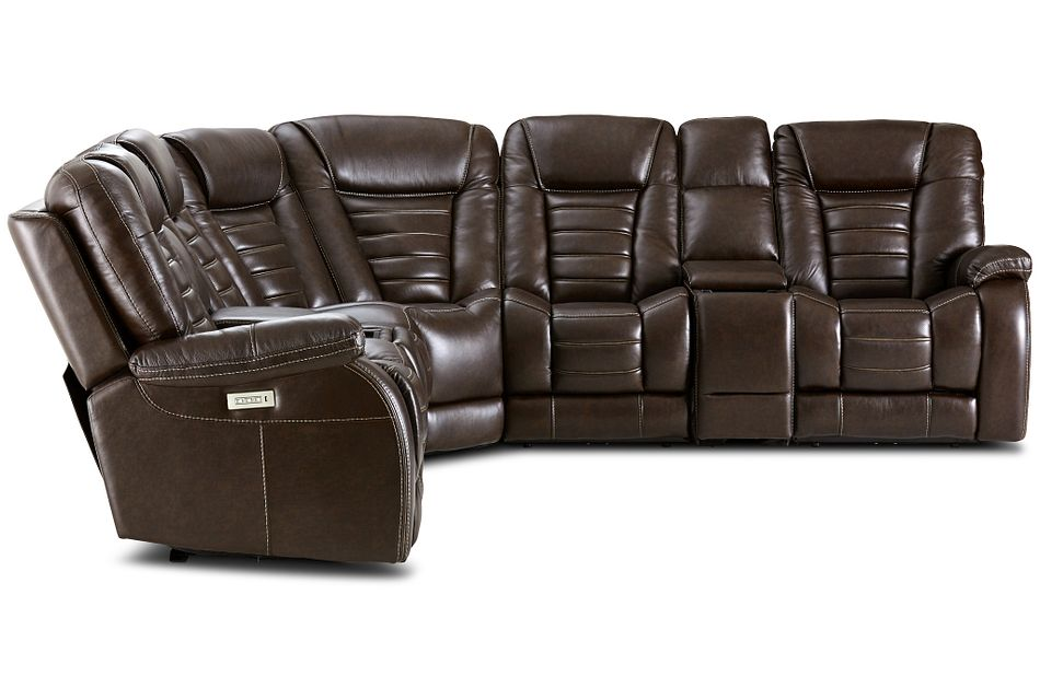 Bradley Dark Brown Lthr/vinyl Large 2-arm Dual Power Sectional W/ Media Storage