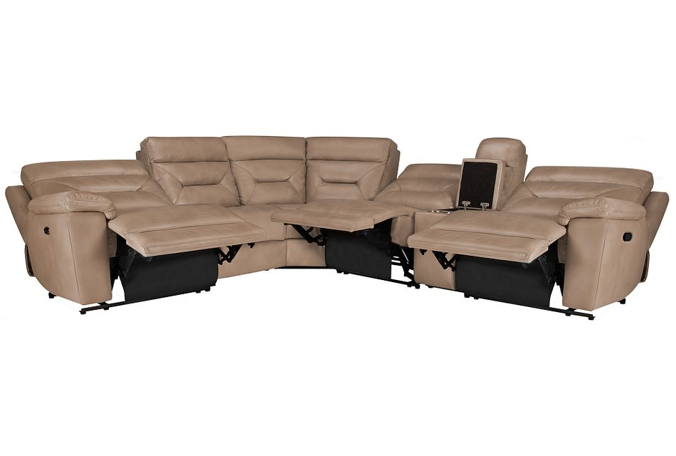 Phoenix Dark Beige Micro Small Triple Power Reclining Two-arm Sectional