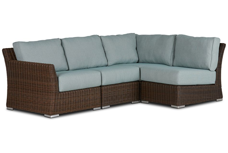 Southport Teal Left 4-piece Modular Sectional