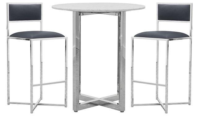 Amalfi Gray Marble Pub Table & 2 Metal Barstools