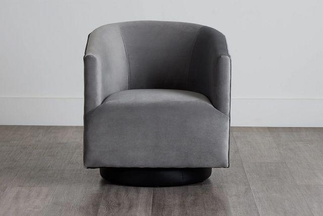 Charlotte Dark Gray Velvet Swivel Accent Chair (0)