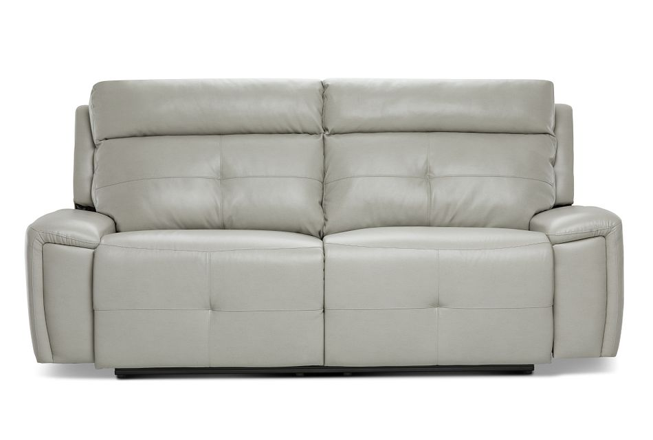 Chandler Light Gray Micro Reclining Sofa | Living Room - Reclining Sofas | City Furniture