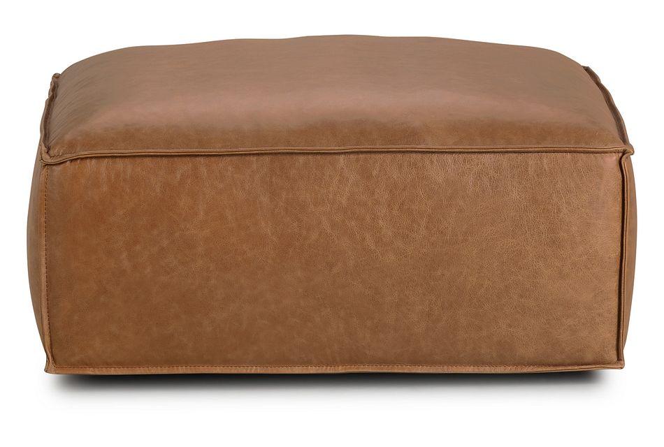 Ashlyn Brown Leather Ottoman,  (2)
