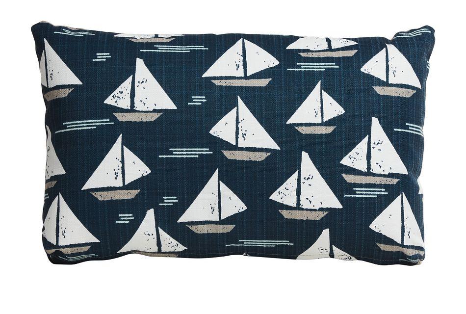 Cape Dark Blue Lumbar Indoor/outdoor Accent Pillow