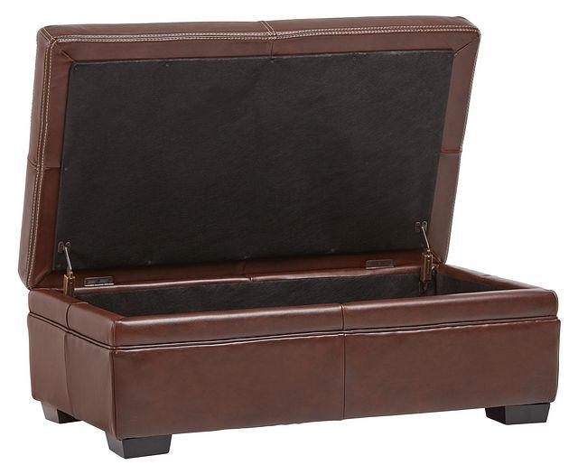 Carson Medium Brown Leather Storage Ottoman (0)